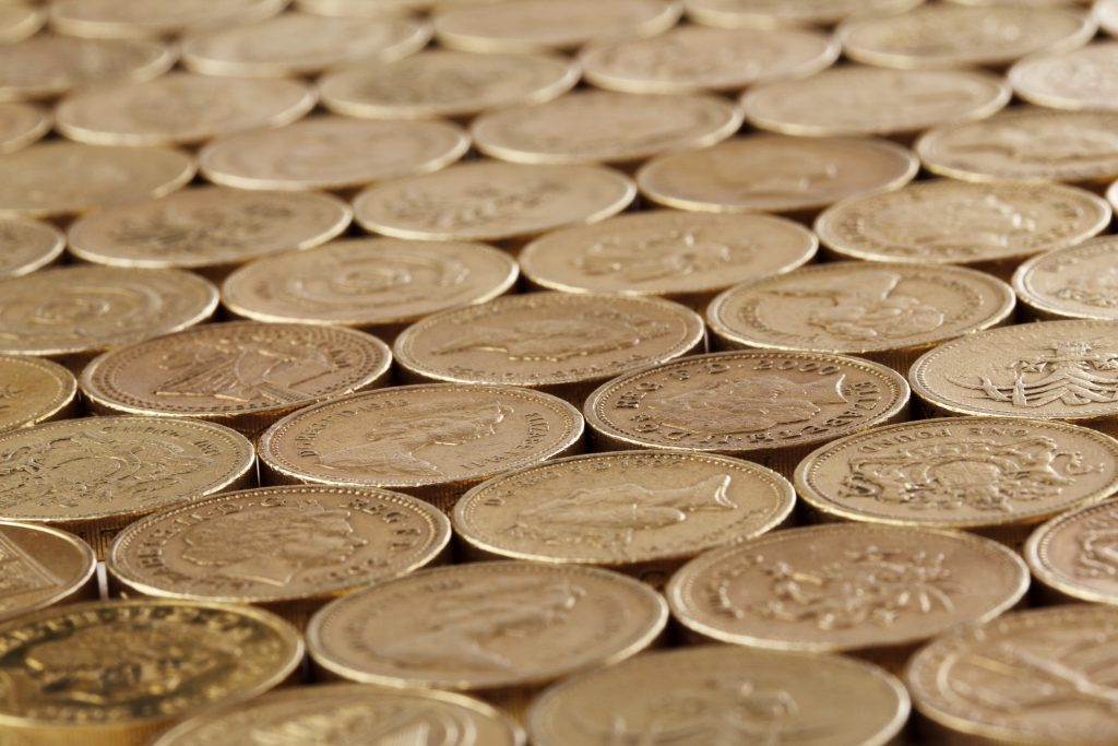 lots of pound coins