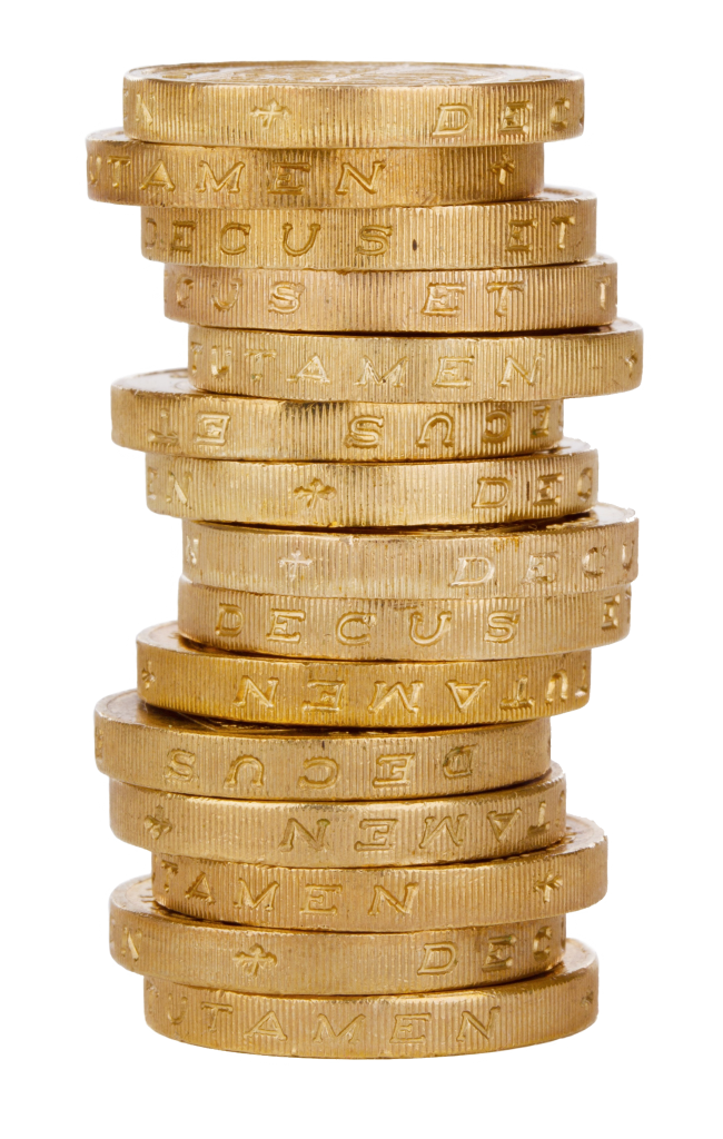 stack of pound coins
